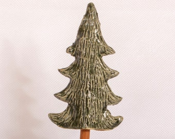 Handmade Little forest tall ceramic tree with wooden base. Giftware ornament green and brown.