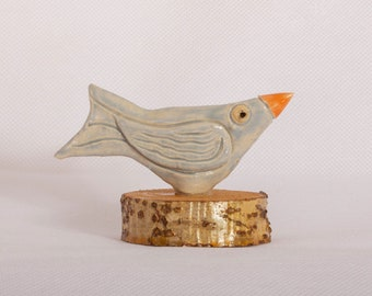 Handmade Ceramic Little Bird with wooden base giftware ornament. Three colour choices. Yellow, Blue or Purple.