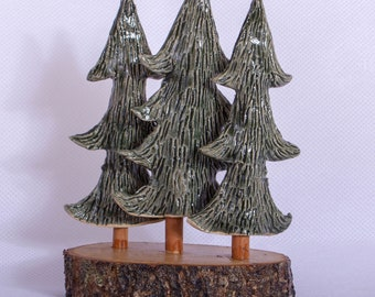 Handmade Little forest tall three ceramic trees with wooden base. Giftware ornament green and brown.