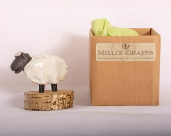 Handmade Ceramic Sheep with wooden base giftware ornament.