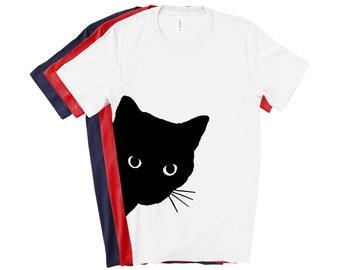1Tee Womens Peeking Black Cat Pocket T-Shirt