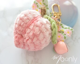 Crochet Peach Keychain, Peach Keyring, Peach Bag Charm, Fruit Charm Keychain, Crochet Peach Amigurumi