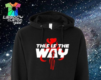 Star Wars Mandalorian (This Is The Way/Red Skull) Unisex Midweight Hooded Pullover Sweatshirt