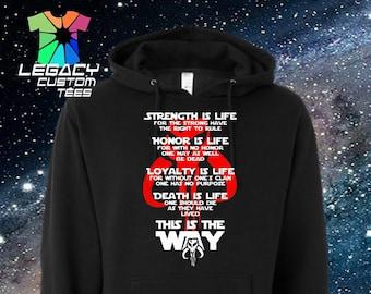 Star Wars Mandalorian (Honor Code) Unisex Midweight Hooded Pullover Sweatshirt