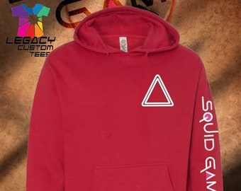 Squid Game (Staff Member) Unisex Midweight 8.5 oz Hooded Pullover Sweatshirt w/ Squid Game Logo on Sleeve