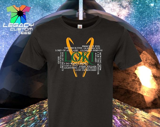 Loki  (God of Mischief Quotes) Heavy Cotton Adult Unisex 6 oz. T-Shirt