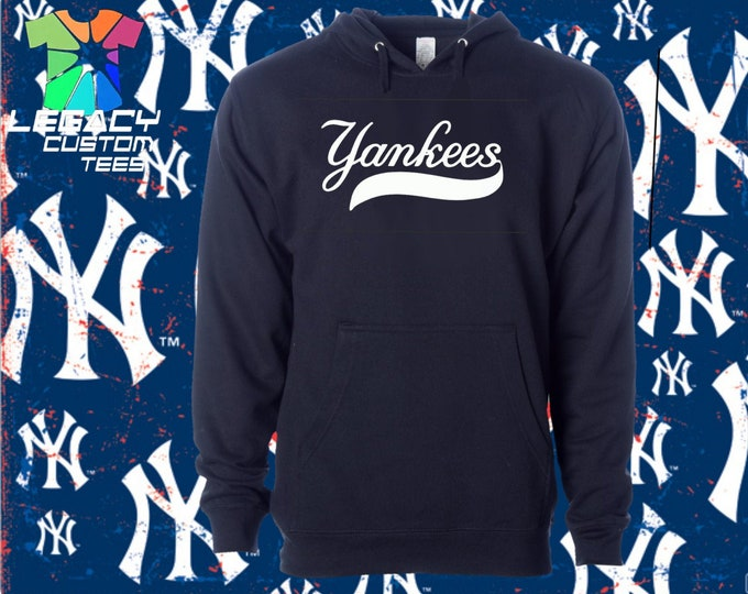 New York Yankees Unisex Midweight 8.5 oz Hooded Pullover Sweatshirt