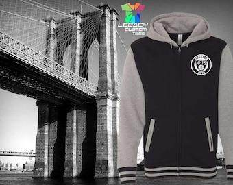 Brooklyn Nets 100% Cotton Zip Up Hooded 10oz Varsity Sweatshirt