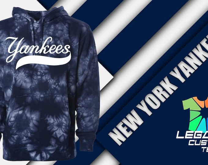 New York Yankees 100% Cotton 9oz Tie Dyed Hooded Pullover Sweatshirt
