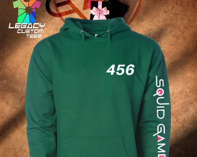 Squid Game (Game Player) Unisex Midweight 8.5 oz Hooded Pullover Sweatshirt w/ Squid Game Logo on Sleeve