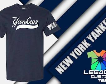 N.Y. Yankees Unisex Heavy Cotton Adult 6 oz. T-Shirt w/ NY Logo & U.S. Flag on Sleeves