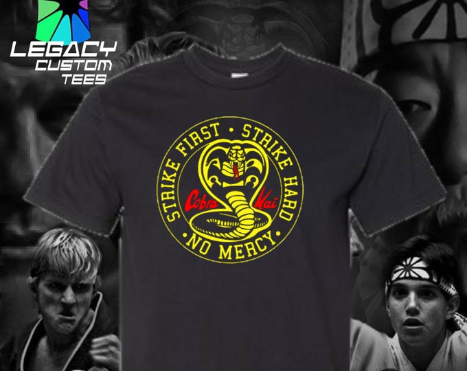 Cobra Kai (Strike First, Strike Hard, No Mercy) Heavy Unisex Cotton Adult 6 oz. T-Shirt