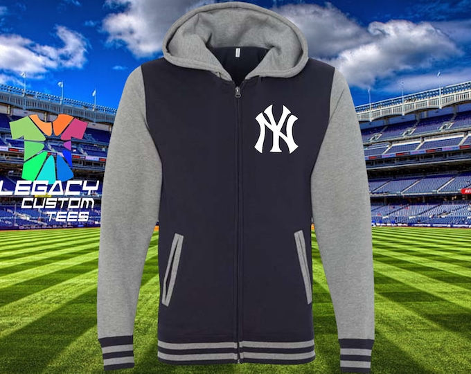 New York Yankees 100% Cotton Zip Up Hooded 10oz Varsity Sweatshirt