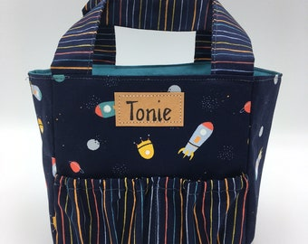 Toniebox bag rockets combined with golden stripes, a wonderful birthday gift for little boys Toniegadget to take away!