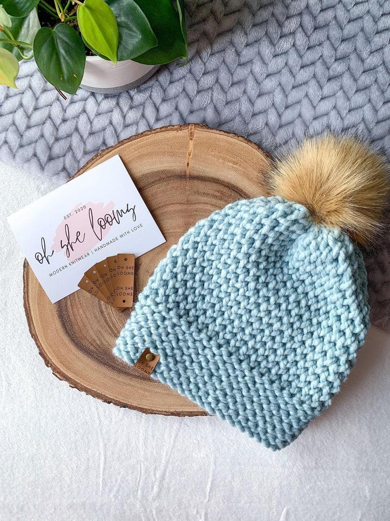 Handmade Knit Beanie The /'Emmie/' Knit Beanie in /'Glacier/' Faux Leather Tag Women/'s Knit Beanie Faux Fur Pom Pom