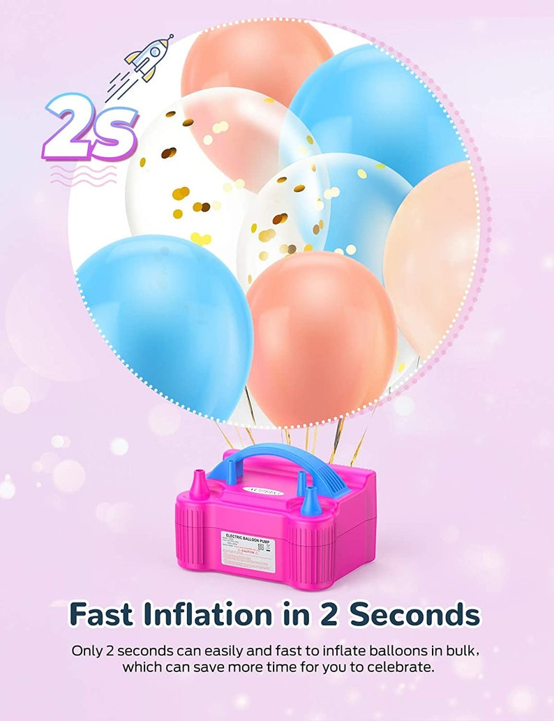 Electric Balloon Pump Automanual Mode Air Balloon Pump with Different Color Balloons Happy Birthday Balloons Flower Clips Colored Ribbon
