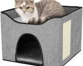 Cat Houses for Indoor Cats with Scratch Pad High Strength Wood Board Without Odor Soft Fabric Can Be Double-Sided Use Foldable Cat Bed