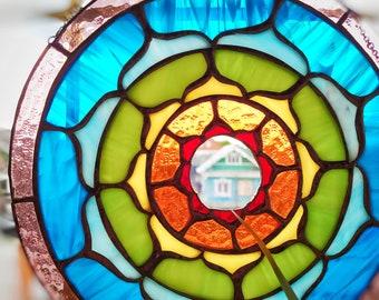 Mandala Stained Glass Suncather, Art Gift, Mandala Home Decor Hanging