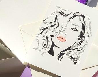 "Folding greeting card   ""Girl outline"""