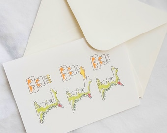 "Folding card for the birth   ""Happy Dragon"""
