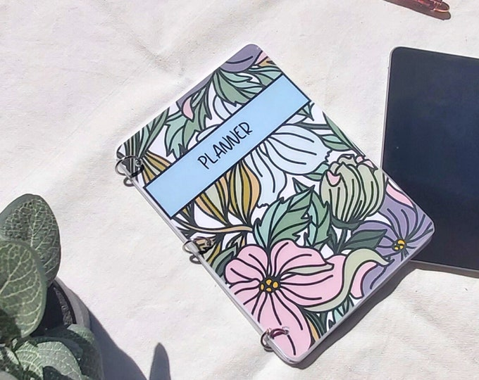 Featured listing image: Weekly Planner - A5 Undated Monthly - Weekly Organizer - Flowers - Birthday Gift for Her, Personalized Journal Notebook