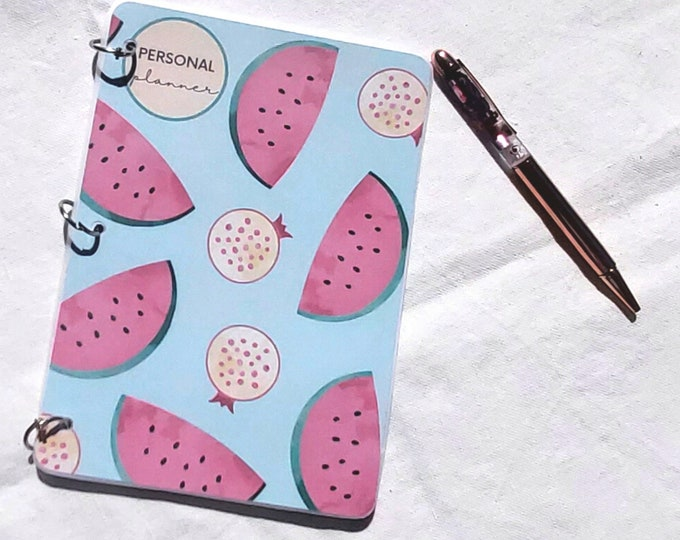 Featured listing image: Weekly Planner - A5 Undated Monthly - Weekly Organizer - Watermelon - Birthday Gift for Her, Personalized Journal Notebook