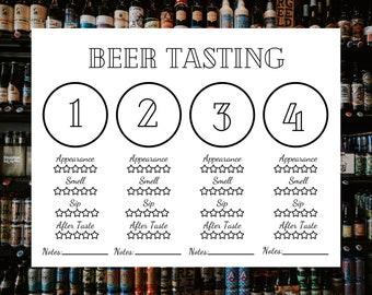 Beer Tasting Placemat - Printable Beer Tasting Scorecard - Beer Placemat - Drinking Games - Printable Beer Scorecards - PDF Instant Download
