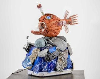 Anglerfish Lamp Sculpture - Handmade Plastic Art Made from Ocean Trash | Washed Ashore