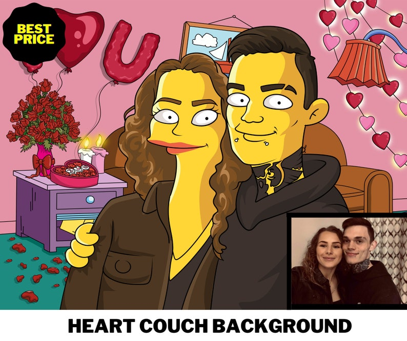 Simpson Couch Couple Portrait Simpson Cartoon, Simpson Couple Portrait Family Portrait Mothers Days Gift Customized Gift