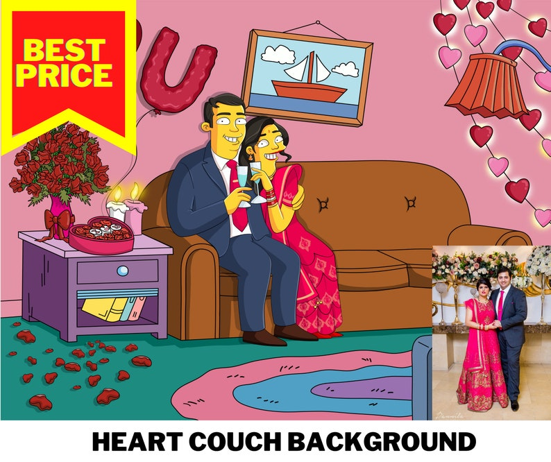 handmade gifts customized gift couple or family picture Valentines Day present Simpson Customized Portrait Simpson couch