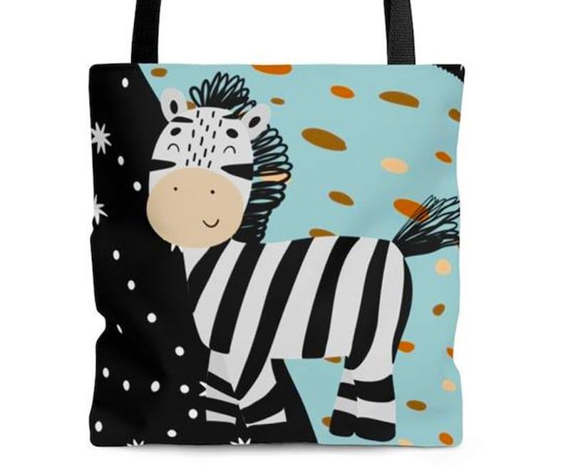 LUCKY GUYS Collection Kids Tote Bag Graphic 3 Sizes Cute Tote Kids Bag Lucky Zebra \u2013 Tote Bag Zebra Design Bag Zebra Cartoon
