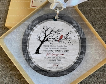 Cardinal Ornament for Loss Of Father, Those We Love Don't Go Away, In Memory 2021 Christmas Ornament, Bereavement Poem, Customized Ornament