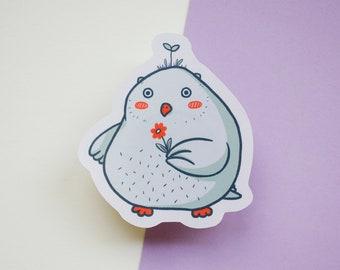 Flower Owl | Foiled paper sticker