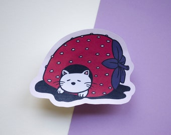 Strawberry-Cave Cat | Foiled paper sticker
