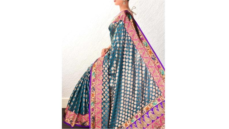 Teal Blue Hand-Embroidered Art Silk Saree