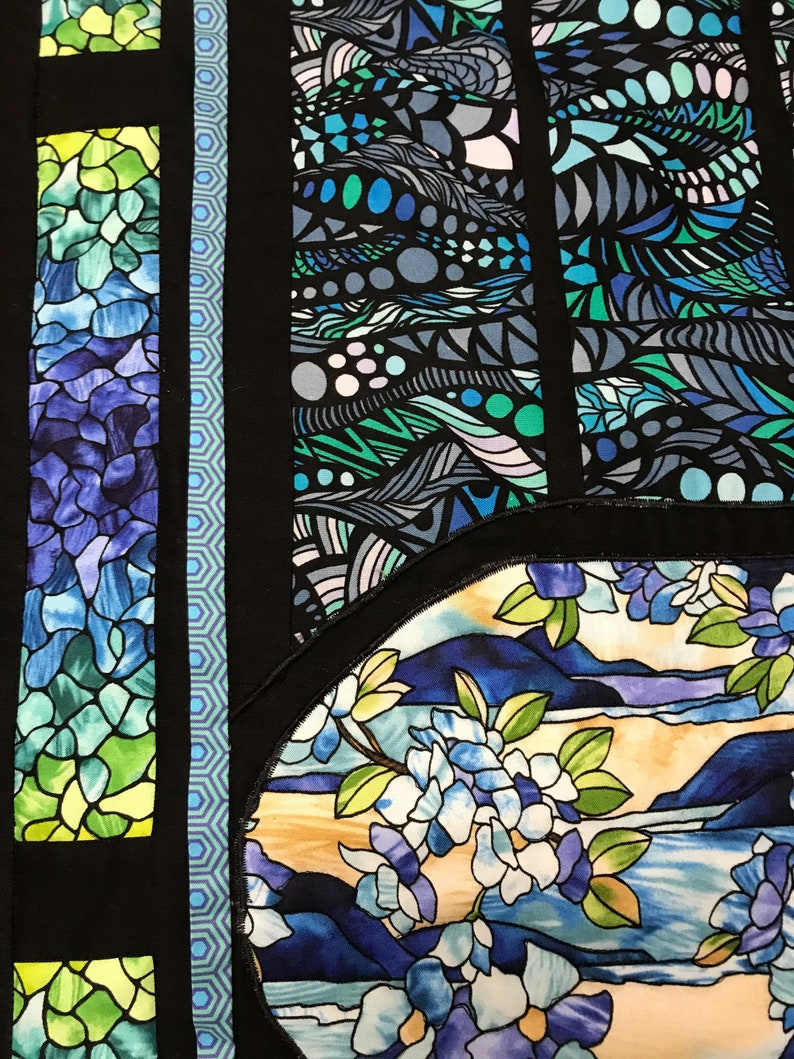 Blue Stained Glass Window Art Quilt
