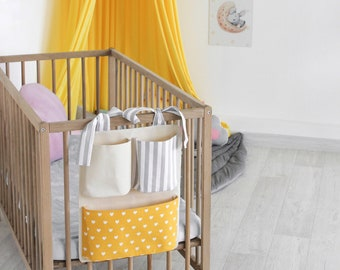 Baby Crib Cot Bed Nursery Organizer Storage Bag Hanging Diaper Boxes Bags DS