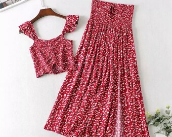 Vintage Women Floral Print Set Gypsy Hippie Crop Top Skirt Set Boho Two Piece Set Summer Boho Mini Skirt Set