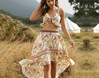 Vintage Women Floral Print Set Summer Boho Mini Skirt Set Boho Two Piece Set Gypsy Hippie Crop Top Skirt Set