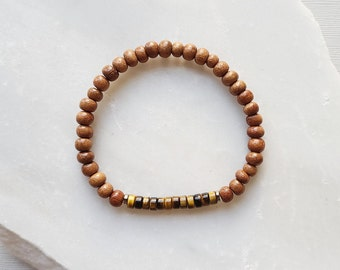 Womens Bracelet Essential Oil Jewelry Natural Gemstone Dalmatian Jasper Seed Bead and Bayong Wood Diffuser Bracelet Mens Bracelet