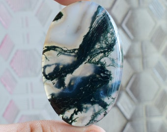 Quality handmade polish Natural Green moss agate cabochon 35.00 Ct moss agate semi precious gemstone for making  jewelry AAA