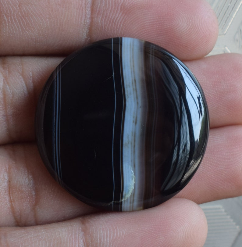 Very Rare! Natural Black Banded Agate Gemstone round Banded Agate Cabochon Handmade Loose Stone For making Jewelry 62.90cts.36x36x6mm,
