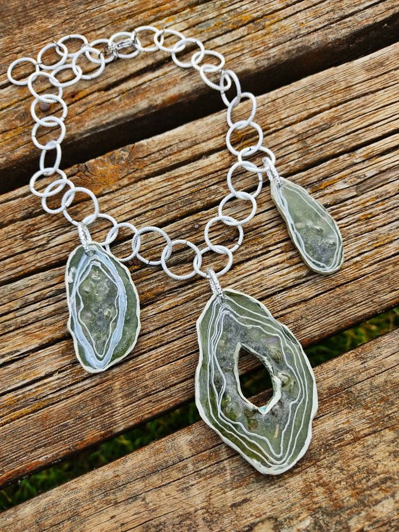 Moss green and silver colors Big statement necklace with handmade imitations of agates Avant-garde unique bib necklace Art jewelry.