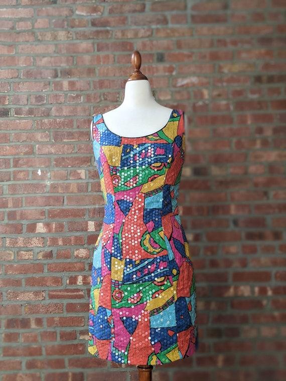 Sequin Multicolor 80's Sheath Dress