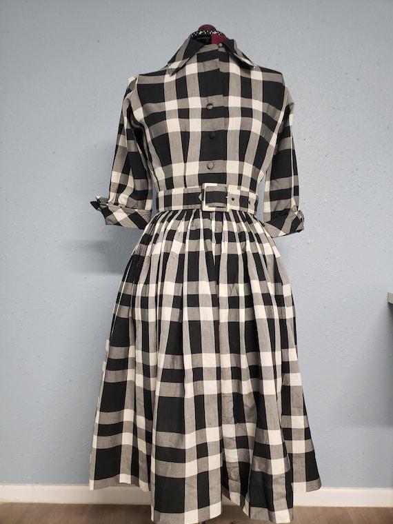 1950s Buffalo Plaid Vintage Rockabilly Swing Dress