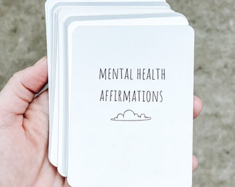Mental Health Affirmation Cards Set. Mindfulness gift for practicing meditations for stress relief, depression and anxiety relief.