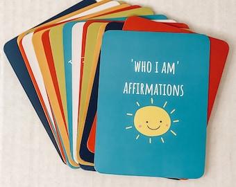 Kids Positive Affirmation Cards Set. Mindfulness gift for children to practice meditation and affirm truths.