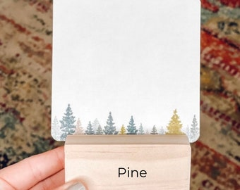 Wooden Pine card holder for place cards, affirmation cards, business cards, photos, more.