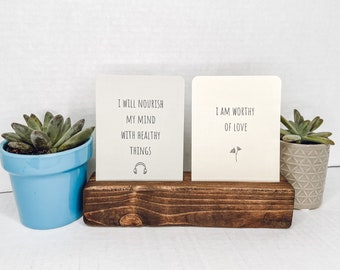 Wooden stand: double card stand medium stain