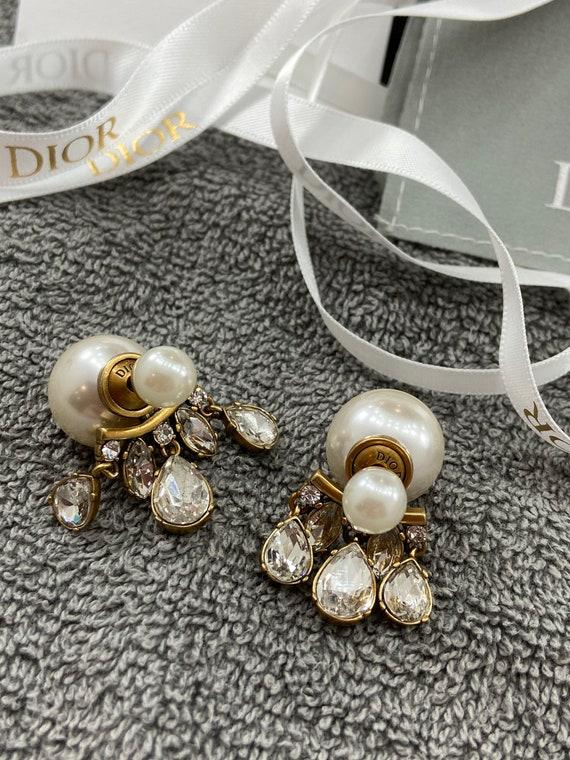 Original CHRISTIAN DIOR faux pearl & teardrop crys
